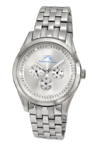 Porsamo Bleu Vince luxury diamond men's stainless steel watch, silver 751AVIS