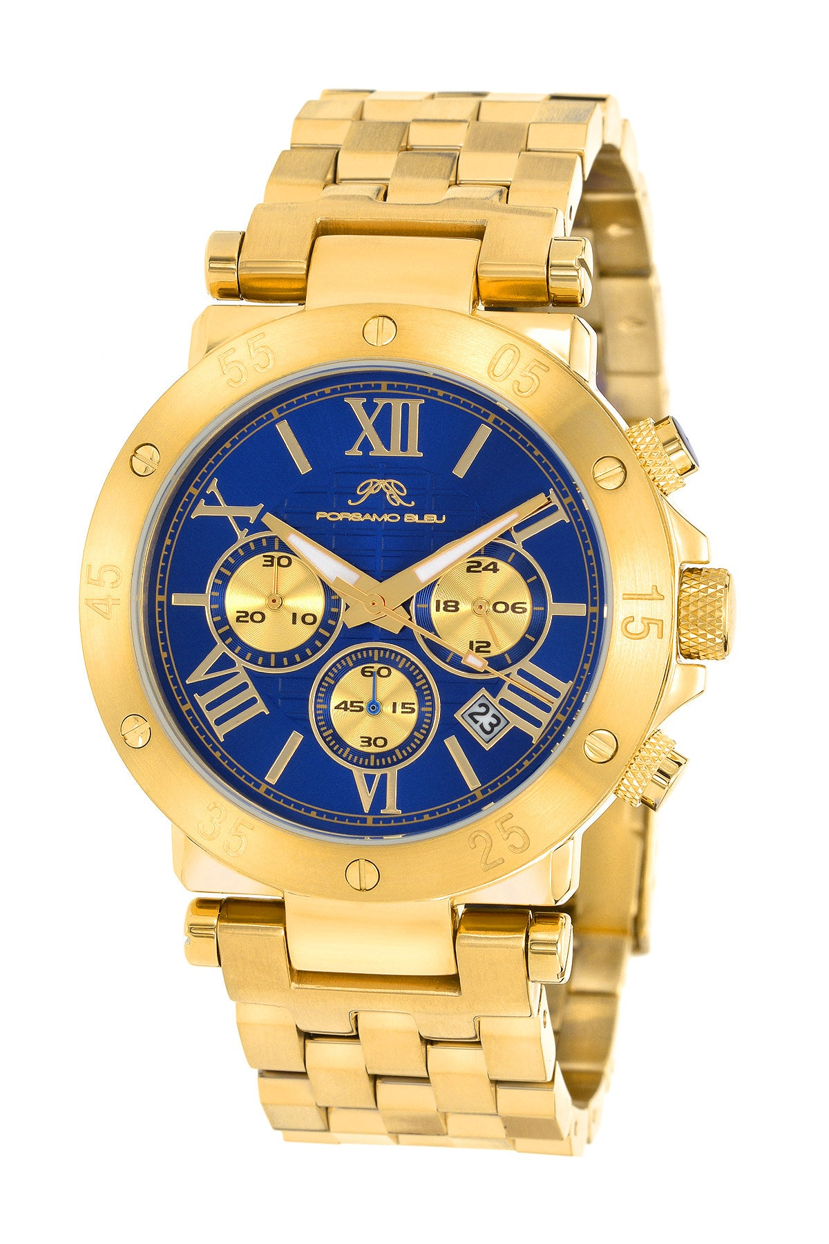 Porsamo Bleu Sasha luxury chronograph men's stainless steel watch, gold, blue 442BSAS