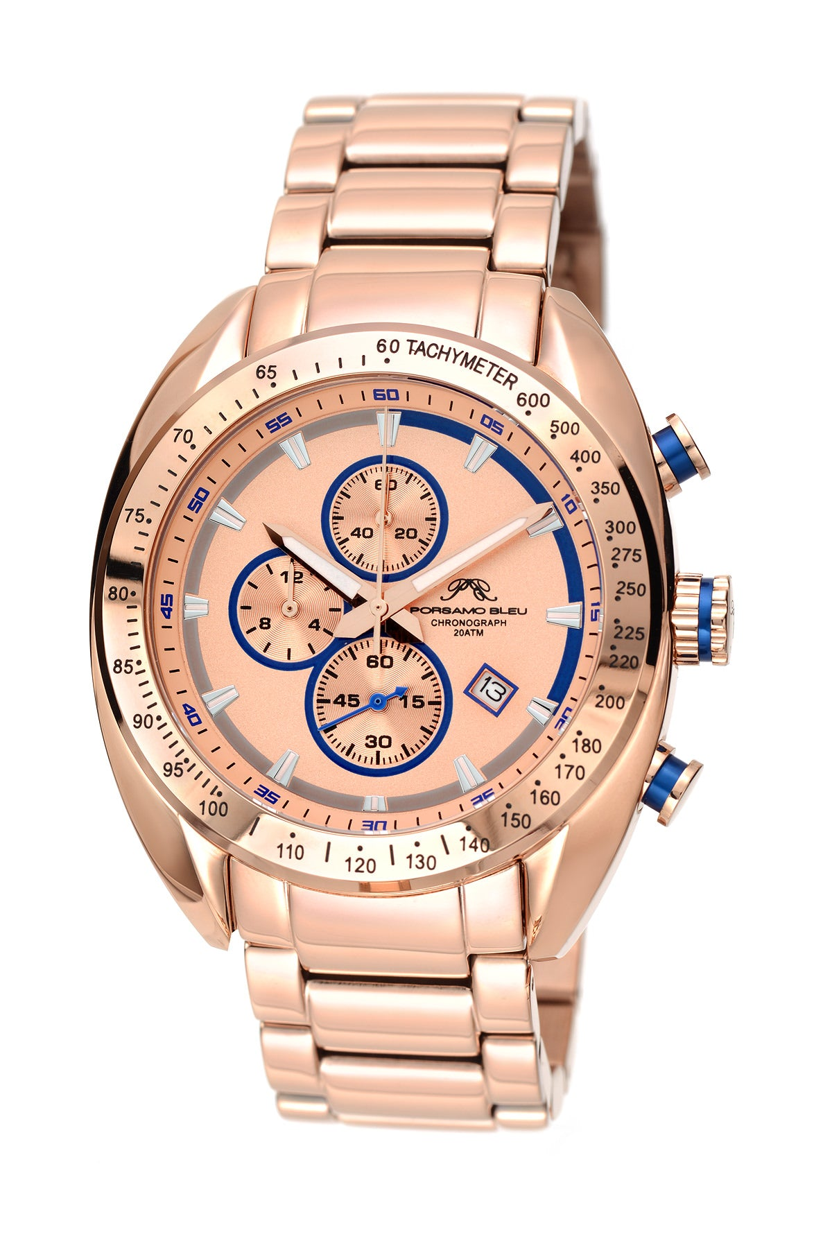 Porsamo Bleu Julien luxury  chronograph men's stainless steel watch, rose, blue 273BJUS