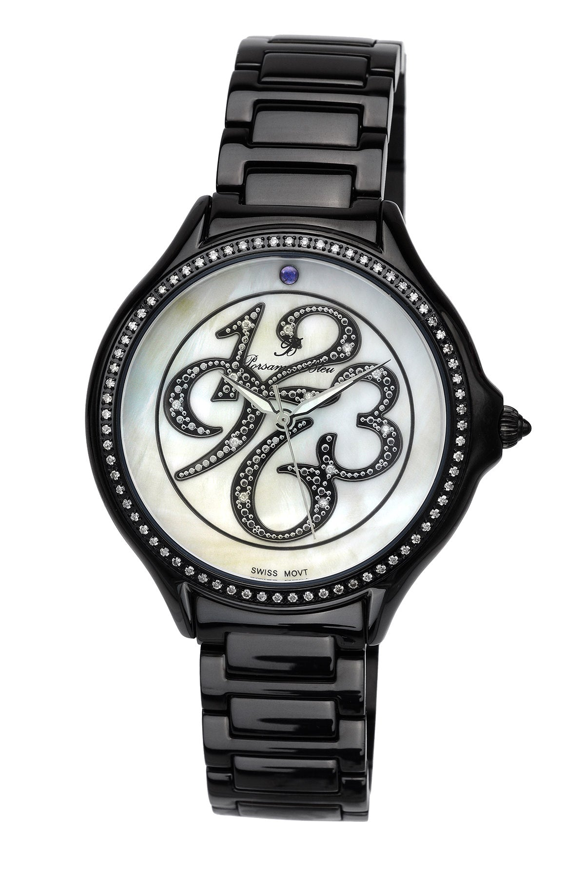 Porsamo Bleu Paris luxury diamond women's stainless steel watch, black 131EPAS