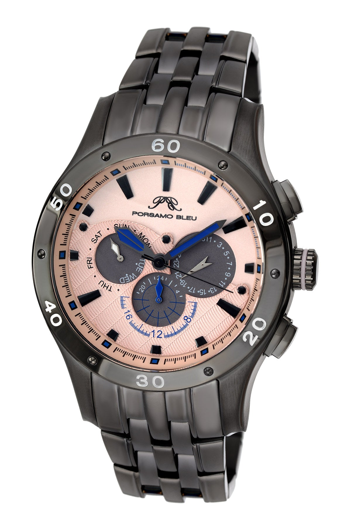 Porsamo Bleu, re luxury men's stainless steel watch, gunmetal, rose 221DANS