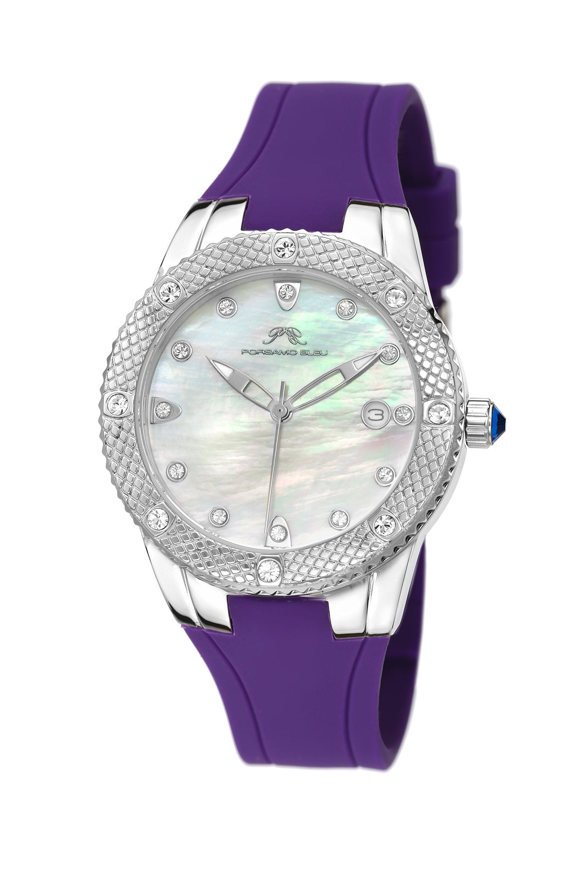 Porsamo Bleu Linda luxury women's watch, silicone strap, silver, purple 493CLIR