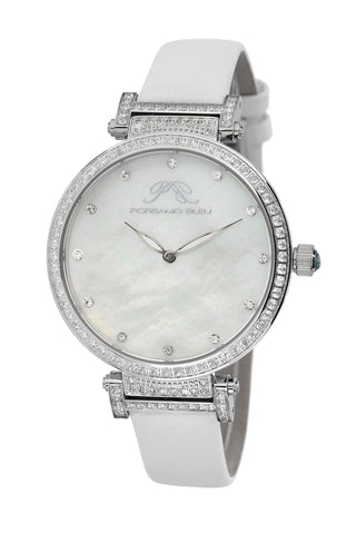 Porsamo Bleu Chantal luxury topaz women's watch, satin covered genuine leather silver, white 673ACHL