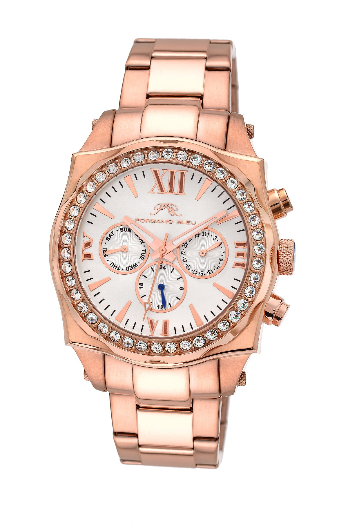 Porsamo Bleu Milan Crystal luxury women's stainless steel watch, Swarovski® crystals, rose, 038DMCS