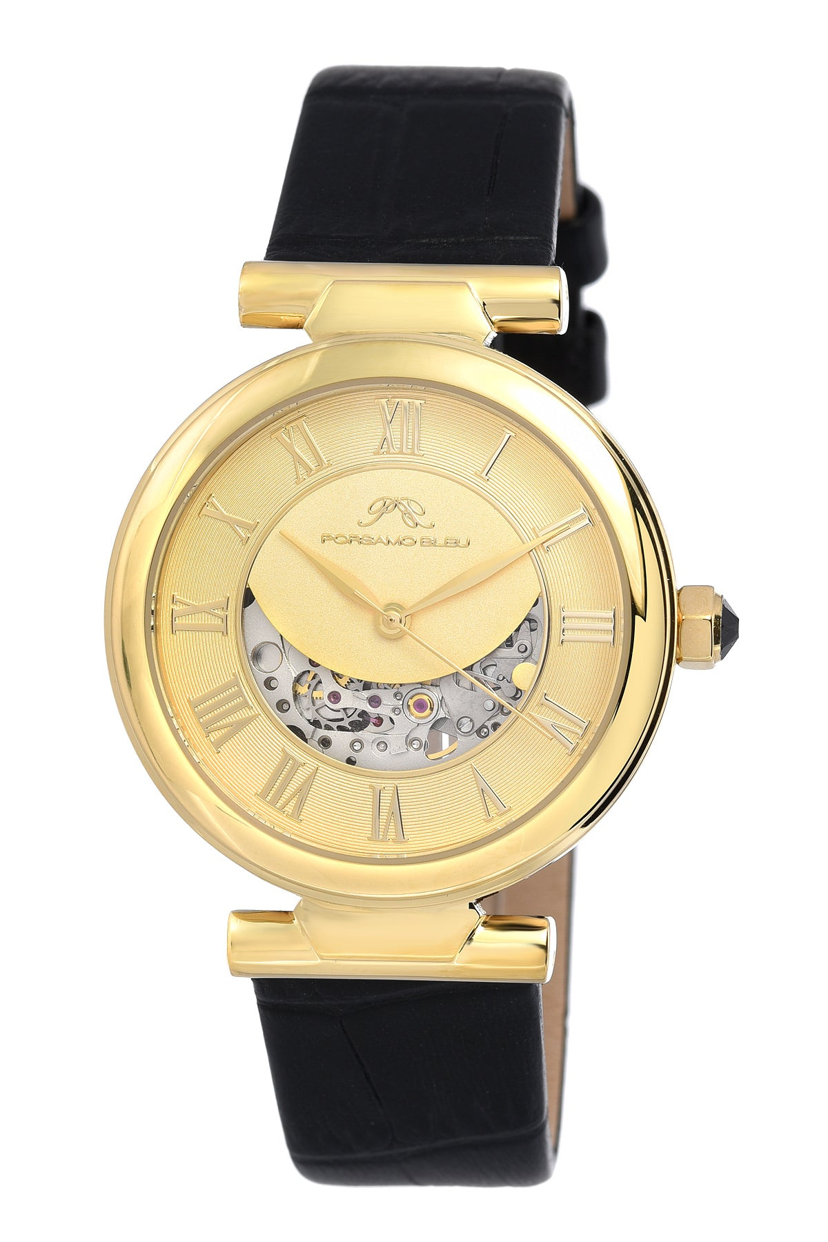 Porsamo Bleu Coco luxury automatic women's watch, genuine leather band, gold, black 811BCOL
