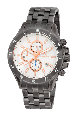 Porsamo Bleu Lorenzo luxury chronograph men's stainless steel watch, grey 562CLOS