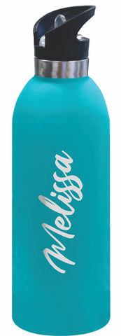 **NEW** 1 LITRE Personalised Drink Bottle LARGE Stainless Steel Laser Engraved Colour Rubber Paint Coating Matte