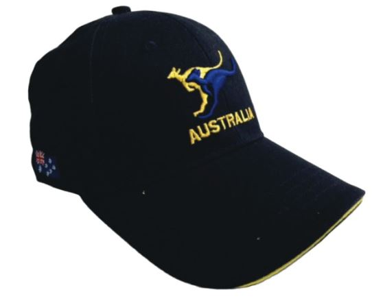 *CLEARANCE* 2 Roos Cap Navy/Gold Aussie Hat With 3D Kangaroos - fair-dinkum-gifts