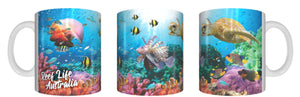REEF LIFE Mug Cup 325ml Gift Aussie Australia Animal Native Fish Great Barrier Reef Sea Turtles