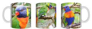 RAINBOW LORIKEETS AUSTRALIA Mug Cup 325ml Gift Native Aussie Australia Animal Wildlife Lorikeet