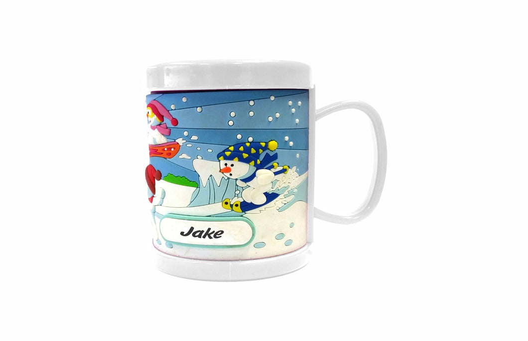 2 PACK PERSONALISED KIDS 3D MUG PVC MOULDED CUP BOOF SNOWMAN DESIGN WITH CUSTOMISABLE NAME TAB - fair-dinkum-gifts