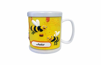 PERSONALISED KIDS 3D MUG PVC MOULDED CUP COMIC BEES WITH CUSTOMISABLE NAME TAB - fair-dinkum-gifts