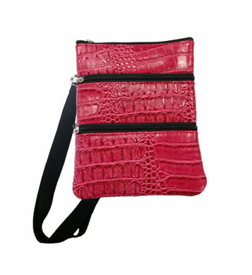 Croc Skin 3 Compartment Zip Bag Crocodile Skin Travel Bag Mens Womens Unisex Neoprene - Black Red Brown Green - fair-dinkum-gifts