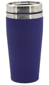 Happy Birthday Personalised Rubber Coated Travel Mug LARGE 475ml Gift Cup Choose Your Colour - fair-dinkum-gifts