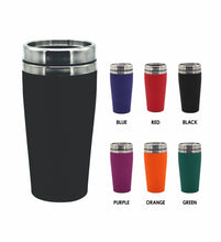 Load image into Gallery viewer, Christmas Travel Mug Travel Flask Merry Christmas 475ml Rubber Paint Coated Colours