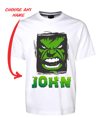 Angry Man Personalised Hulk Style Tee T-Shirt GREEN