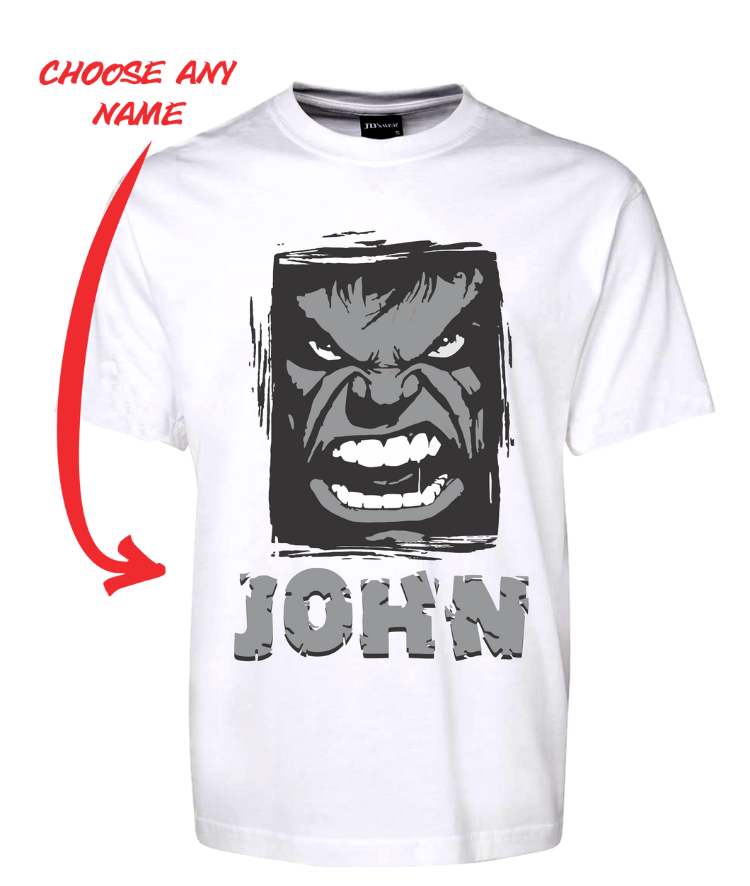 Angry Man Personalised Hulk Style Tee T-Shirt GREY FDG01-1HT-23018 - fair-dinkum-gifts