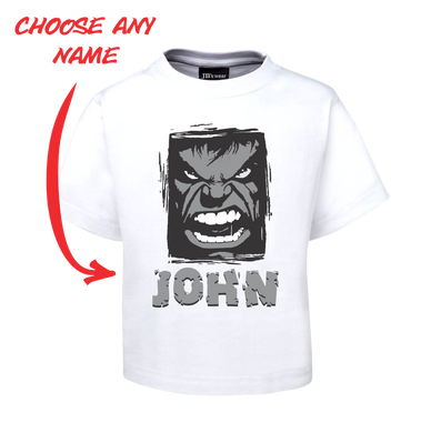 Kids Angry Man Personalised Hulk Style Tee Children's T-Shirt GREY