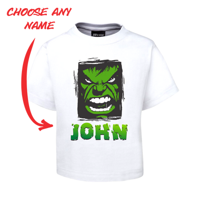 Kids Angry Man Personalised Hulk Style Tee Children's T-Shirt GREEN