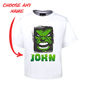 Kids Angry Man Personalised Hulk Style Tee Children's T-Shirt GREEN FDG01-1KT-22003