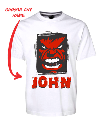 Angry Man Personalised Hulk Style Tee T-Shirt RED