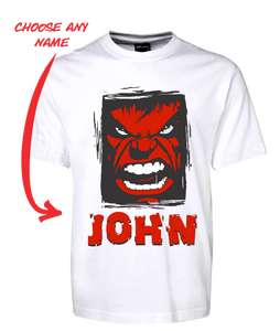 Angry Man Personalised Hulk Style Tee T-Shirt RED FDG01-1HT-23017