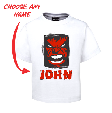 Kids Angry Man Personalised Hulk Style Tee Children's T-Shirt RED