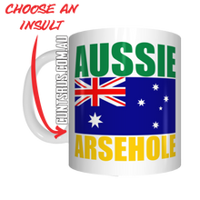 Load image into Gallery viewer, Aussie Insult Rude Coffee Mug Gift Choose From Cunt Wanker Arsehole Tosser Twat Fucker