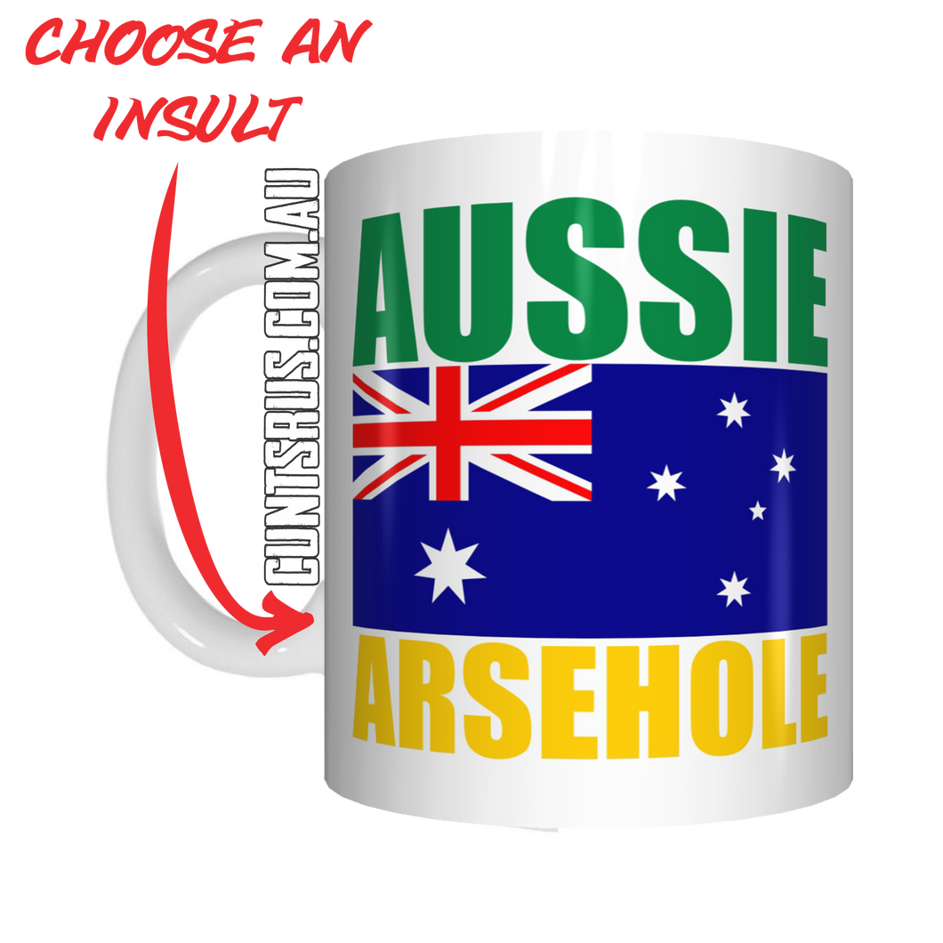 Aussie Insult Rude Coffee Mug Gift Choose From Cunt Wanker Arsehole Tosser Twat Fucker