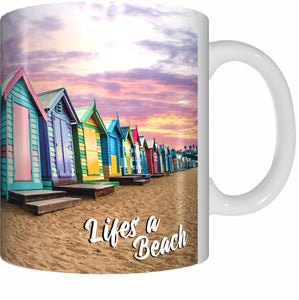 BEACH BOXES Mug Cup 300ml Gift Aussie Australia Life's A Beach Brighton - fair-dinkum-gifts