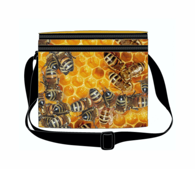 Honey Bees Cooler Bag with Zip Pocket & Strap Aussie Products Drink Holders - fair-dinkum-gifts