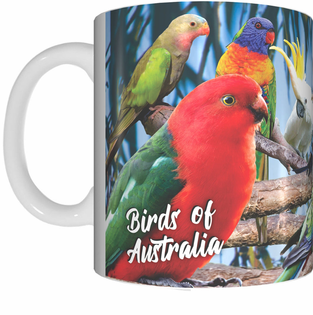 BIRDS OF AUSTRALIA Mug Cup 300ml Gift Native Aussie Rosella Cockatoo Parrot Lorikeet Kookaburra - fair-dinkum-gifts