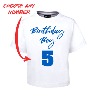BIRTHDAY BOY KIDS T-SHIRT PERSONALISED WITH AGE BLUE AND WHITE TEE FDG01-1KT-22008/2