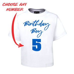 BIRTHDAY BOY KIDS T-SHIRT PERSONALISED WITH AGE BLUE AND WHITE TEE FDG01-1KT-22008/2 - fair-dinkum-gifts