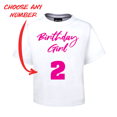 BIRTHDAY GIRL KIDS T-SHIRT PERSONALISED WITH AGE PINK AND WHITE TEE