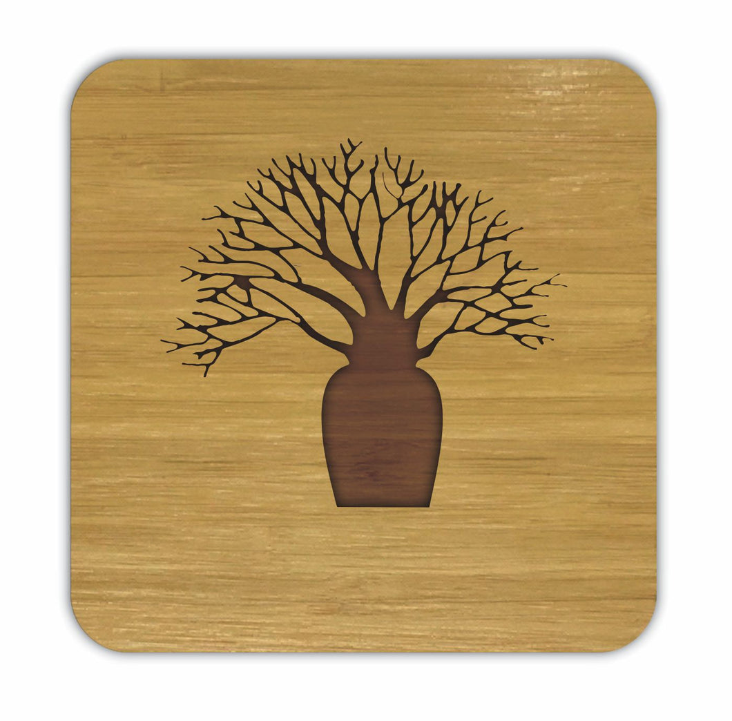 Boab Tree Bamboo Coasters Eco Friendly Set Of 4 Drink Coasters in Box - fair-dinkum-gifts