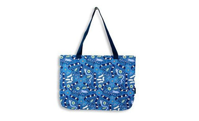 Bush Tucker Blue Large Tote Bag Aboriginal