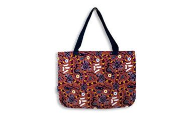 Bush Tucker Tan Large Tote Bag Aboriginal