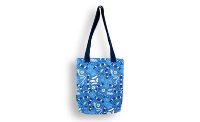 Bush Tucker Blue Tote Bag Aboriginal