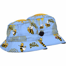 Load image into Gallery viewer, SUBLIMATED KIDS BUCKET HAT CARTOON BEES HONEY DINOSAURS BOYS OR GIRLS - fair-dinkum-gifts