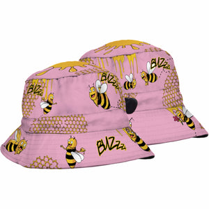 SUBLIMATED KIDS BUCKET HAT CARTOON BEES HONEY DINOSAURS BOYS OR GIRLS - fair-dinkum-gifts