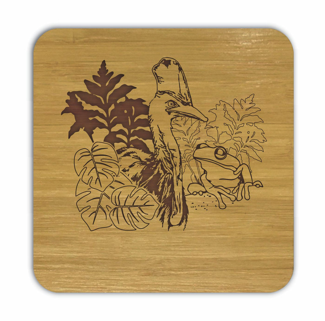 CASSOWARY AND FROG Bamboo Coasters Eco Friendly Set Of 4 Drink Coasters in Box - fair-dinkum-gifts
