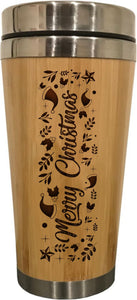 Christmas Travel Mug Bamboo Travel Flask Merry Christmas 450ml