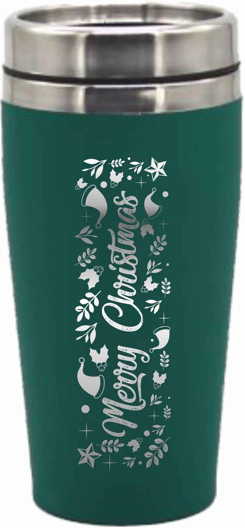 Christmas Travel Mug Travel Flask Merry Christmas 475ml Rubber Paint Coated Colours