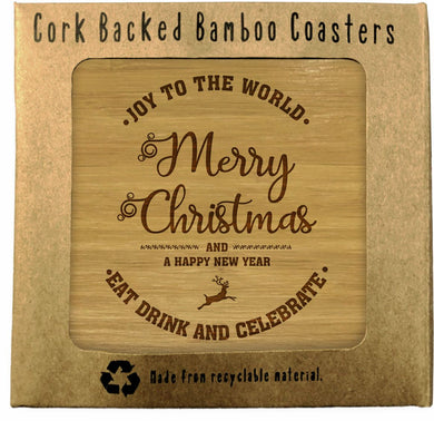 Christmas Gift Bamboo Coasters Set of 4 in box ECO Friendly Merry Xmas