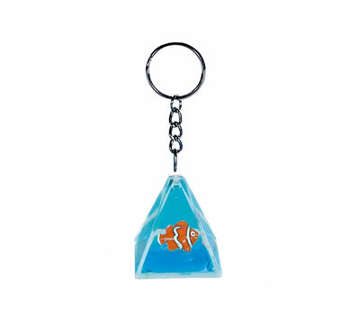 Oily Pyramid Key Ring Aussie Gifts Coloured Liquid Floater Keyrings Clownfish Snowman - fair-dinkum-gifts