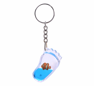 Oily Foot Shaped Key Rings Aussie Gifts Souvenirs Coloured Liquid with Floaters Keyrings - fair-dinkum-gifts