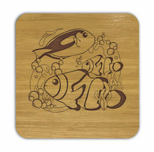 Load image into Gallery viewer, CLOWNFISH AND BLUE TANG Bamboo Coasters Eco Friendly Set Of 4 Drink Coasters in Box - fair-dinkum-gifts