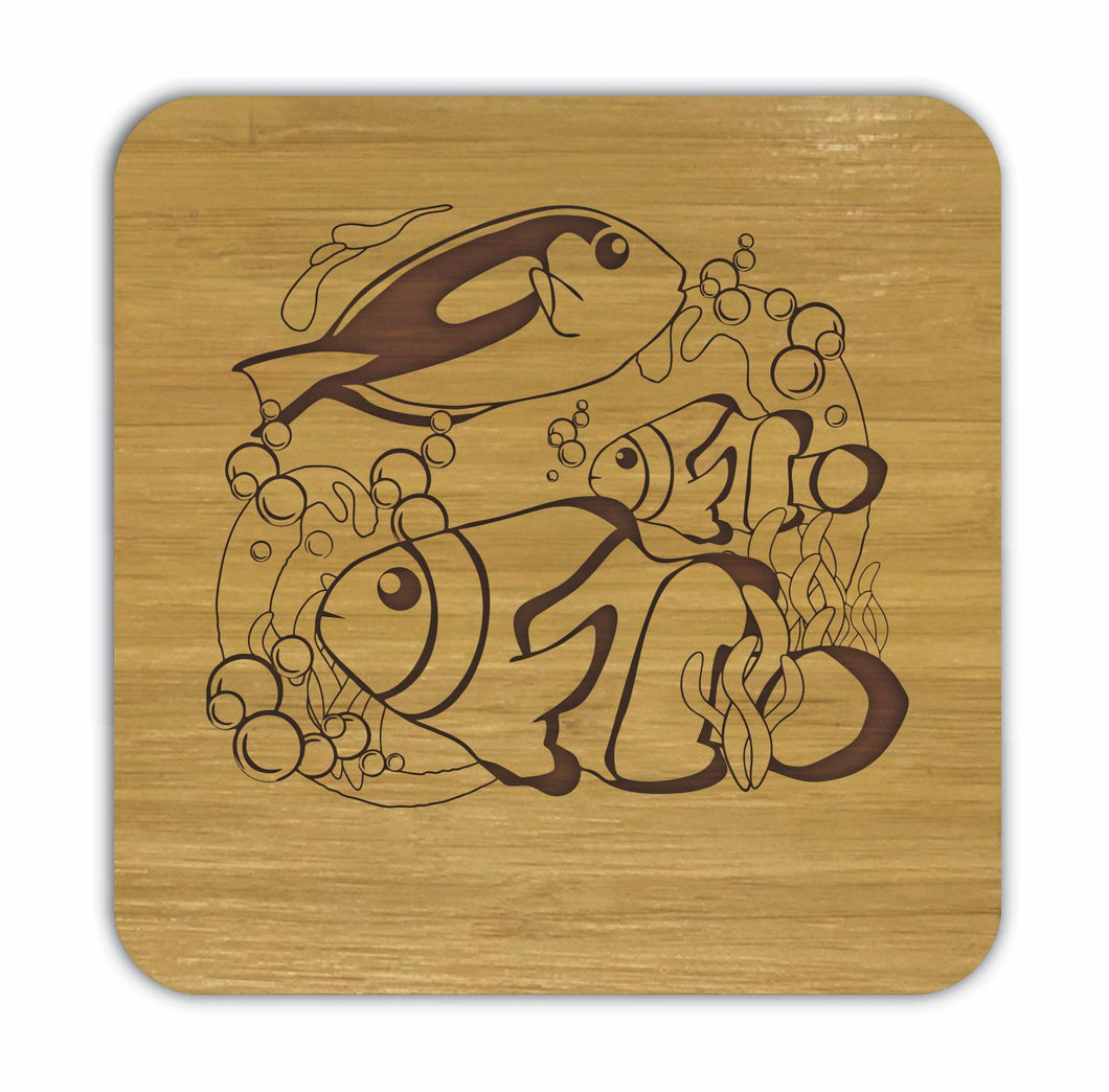 CLOWNFISH AND BLUE TANG Bamboo Coasters Eco Friendly Set Of 4 Drink Coasters in Box - fair-dinkum-gifts