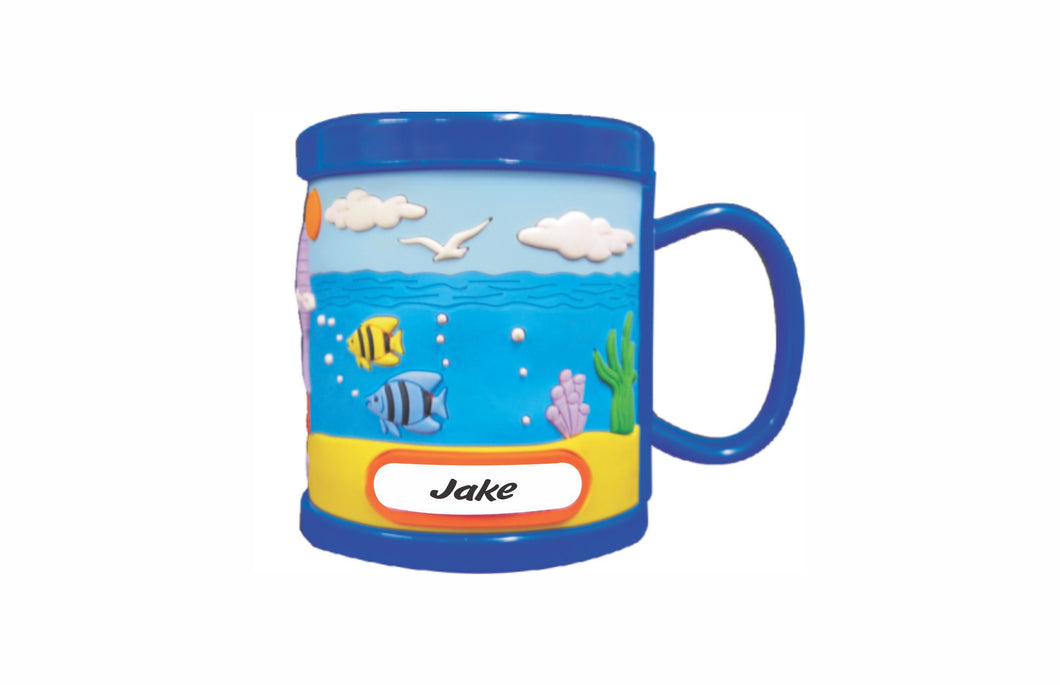 2 pack Personalised Kids 3D Mug PVC Moulded Cup Coral Reef Blue Yellow with Name Tab - fair-dinkum-gifts